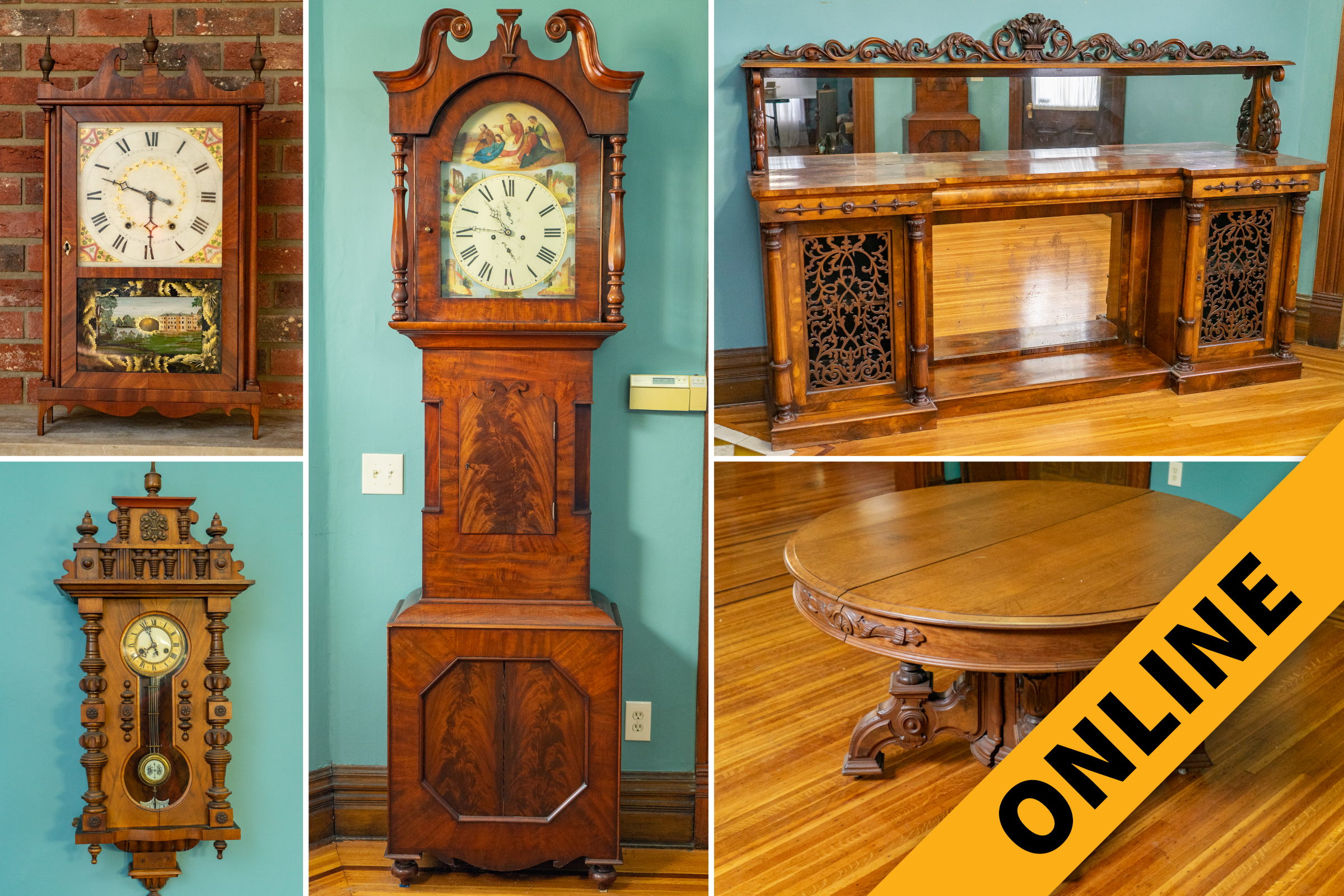 Myers Antique Clocks Furniture Online Auction Harritt Group Inc